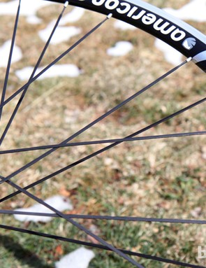 American Classic uses a two-to-one lacing pattern on the rear wheel to help equalize spoke tension. Actual measured tension varies just 10 percent from one side to the other
