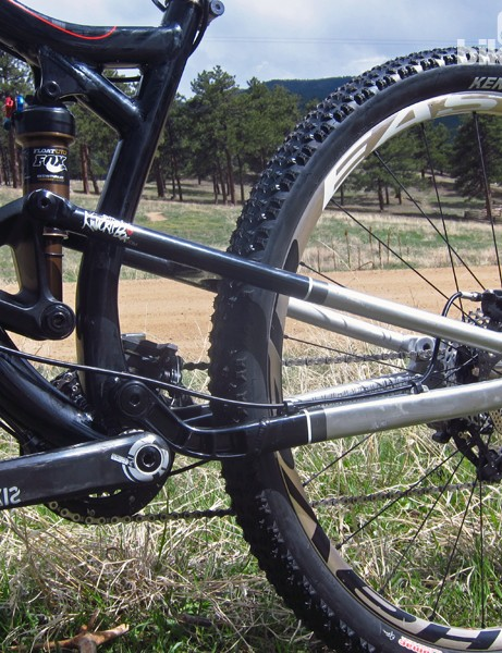 Diamondback says it's reinforced the rear end of the new Mason FS relative to its other Knucklebox-equipped 29ers, but the chain stays still seem rather long