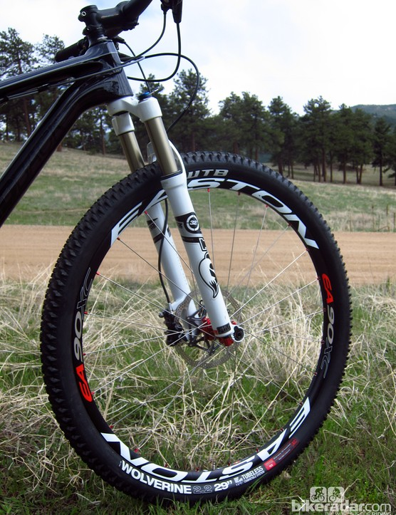 WTB Wolverine tires are wrapped around lightweight Easton EA90 XC tubeless-compatible wheels on Diamondback's top-end Overdrive Carbon