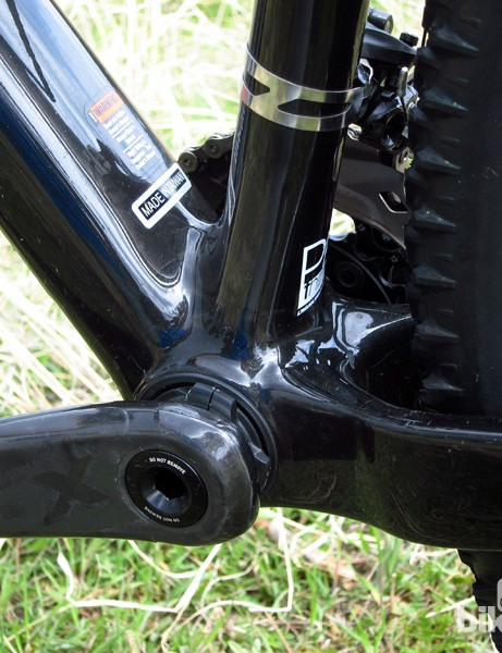 The carbon frame is fitted with a PF30 bottom bracket shell