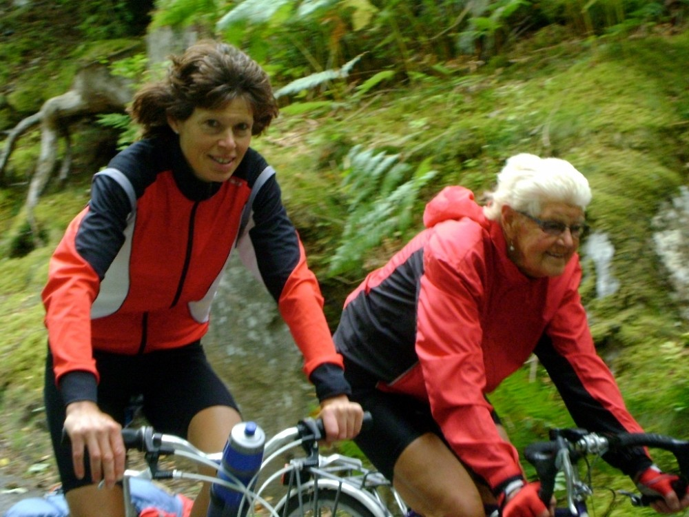 """Audrey Fyfe's daughter, Aileen Brown, described her mum as a """"best friend"""" – the two are shown here cycling together"""
