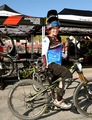 Team Norco's Jill Kintner on her Norco Sight 650b prototype. She took wins in both the dual slalom and downhill