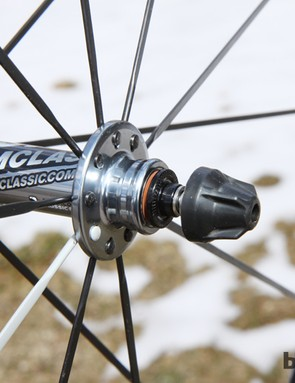 American Classic sets the bearings extremely far apart on the front hub, to aid wheel stiffness. Even with stainless steel construction, though, we can't help but question how well the exposed bearing seals will hold up to wet weather or frequent washings