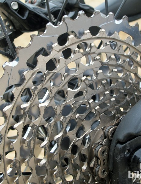 Don't expect the new XG-1195 cassette to be machined from a single chunk of steel like the current XX1 block. We're anticipating a complex pinned arrangement like what's used on the 10-speed XG-1080