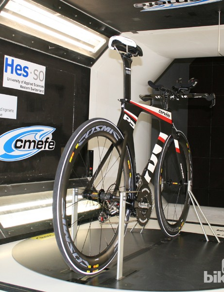 The Cervelo P5 test bike on the rig in the tunnel