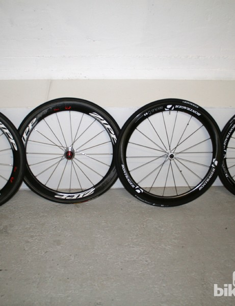 Zipp 404 Firecrest and Bontrager Aeolus wheels ready to be tested in the tunnel