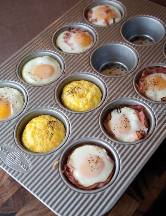 Savory treats like these small egg dishes are included
