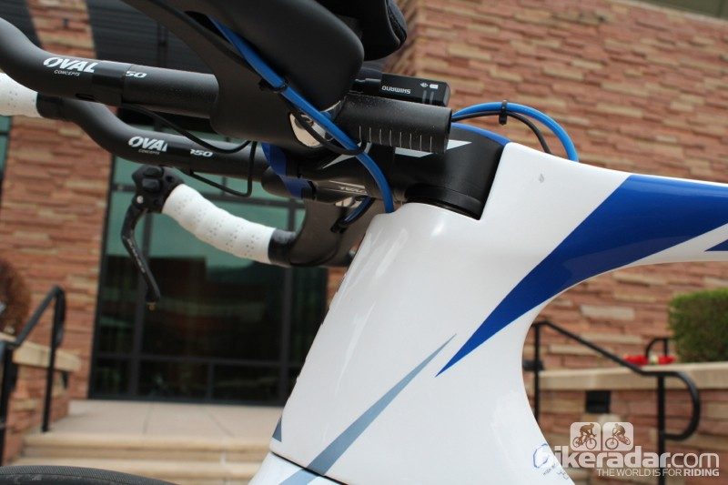 The proprietary stem sits flush with the top tube - in terms of height and width