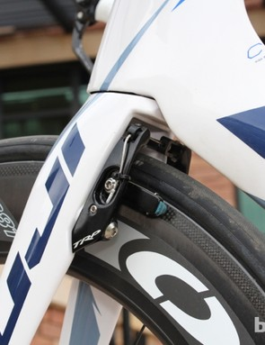 TRP Aero TTV brakes bolt onto the rear of the fork and the underside of the seat stays