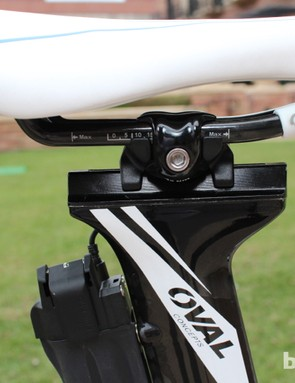 The Oval seatpost features enough fore-aft adjustment to effectively alter the seat tube angle between 74 and 81 degrees. And, of course, there's also the saddle-rail fore-aft adjustment as well