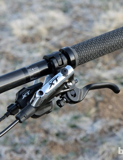Shimano's Deore XT group was flawless throughout testing, with silky-smooth shifting and powerful brakes that were also easy to control