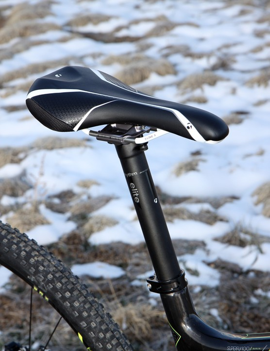 The Bontrager Evoke 3 saddle is suitably firm and comfy for longer trail rides. Rounded corners make it easy to slide off the back, too
