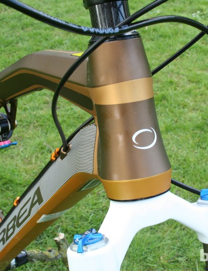 The head tube is chunky and sculpted