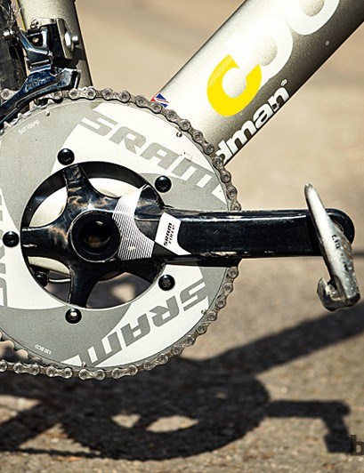 SRAM's TT chainset has carbon arms but an oversized BB30 axle for maximum torque through the 54T aero chainring