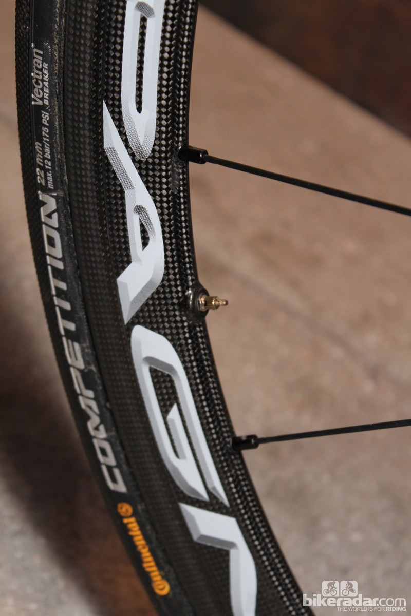 Extra carbon opposite the spoke hole balances the weight of the rim