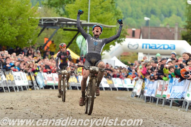Daniel McConnell took a surprise win at the opening MTB XC world cup in Albstadt, Germany