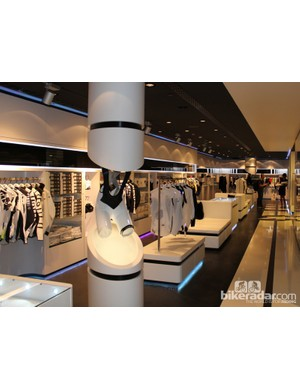 The lower level of the Lugano store features a deeper product selection, large changing rooms and quality espresso - served in black and white Assos cups, of course