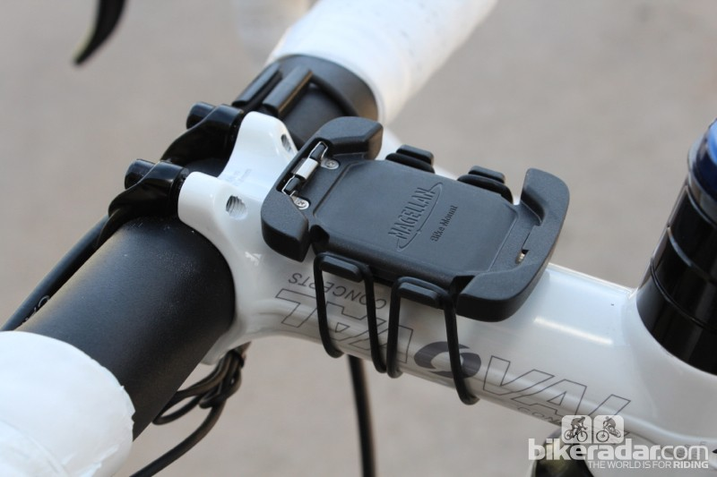 A snap-in mount uses gummy straps for stem or handlebar placement. It's workable but not ideal. Besides the tall size, the computer wiggles when the side buttons are pressed. A rigid mount such as those made by Bar Fly would be better aesthetically and functionally