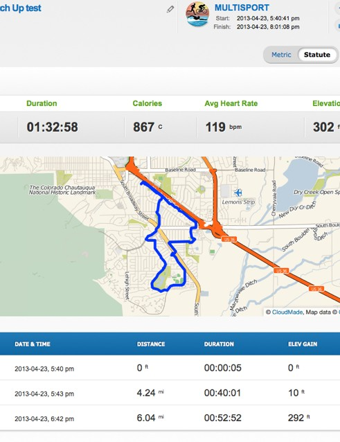 Intended for use by triathletes, you can record all three sports in one activity file. We rode the rollers - which recorded as 4.24mi - and ran, but did not swim. BikeRadar is a cycling site, for Pete's sake!