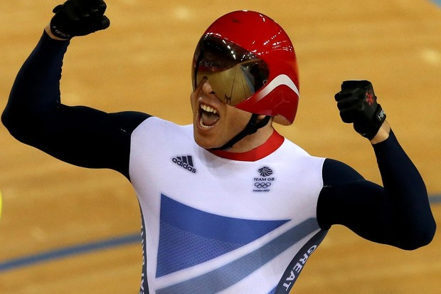Sir Chris Hoy winning the keirin final at London 2012
