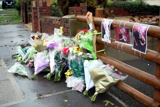 Tributes at the scene where Lovell hit and killed tandem couple