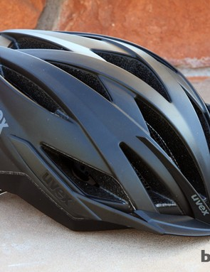 The UVEX Ultrasonic CC is the company's top-end cross-country helmet, with 19 vents, a built-in visor, and front bug netting