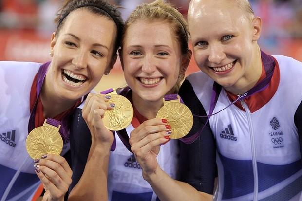 Dani King, Laura Trott and Joanna Rowsell celebrating gold in the Olympic team pursuit