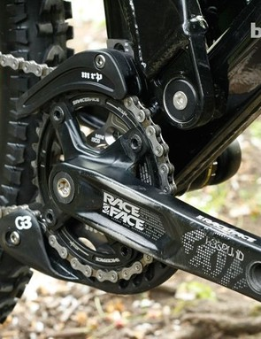 RaceFace supply the cranks, and the MRP G3 chain device should keep things tidy and protected