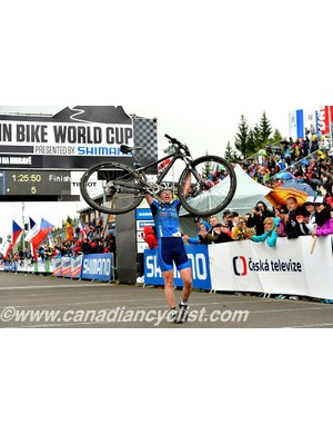 Tanja Zakelj (Slo) Unior Tools Team wins the women's cross country in round two of the MTB World Cup