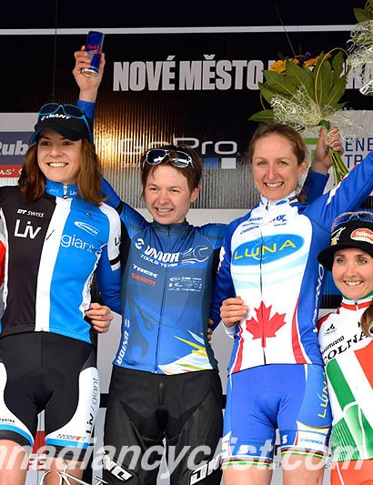 Cross country women's podium: Eva Lechner, Maja Wloszczowska, Tanja Zakelj, Catharine Pendrel, Eva Lechner