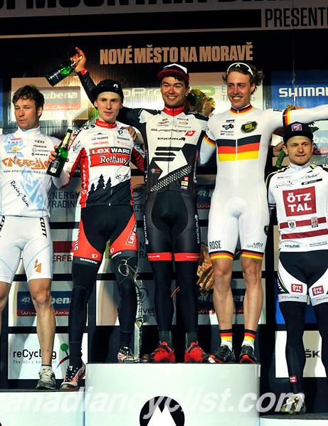 Men's eliminator podium: Miha Halzer , Christian Pfäffle, Kenta Gallagher, Simon Gegenheimer, Daniel Federspiel