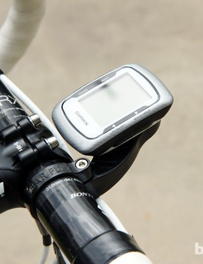 Garmin's smaller computers can be tucked in tight to the bar (as shown here) or mounted a little further out