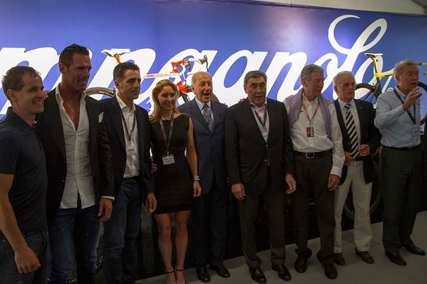 Big-name Campagnolo riders of the past, from Andy Hampsten to Eddy Merckx, lined up for the 80th Anniversay celebration