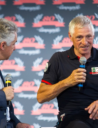 Francesco Moser took the microphone to talk about his many experiences on Campagnolo