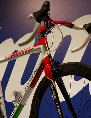 Campagnolo took a few moments to promote the current gear, too, such as Super Record EPS and the new Bora Ulra 35 wheels