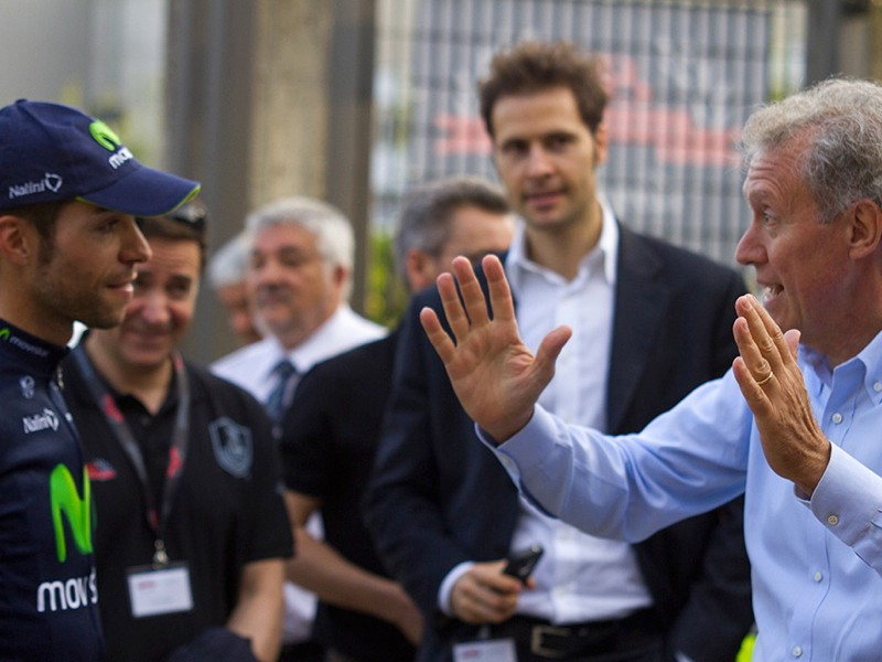 Visconti talks to Valentino Campagnolo, son of founder Tulio Campagnolo
