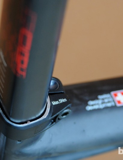 The seat tube is 27.2mm wide when viewed from the side, but flattened at the rear to dissipate the stress from flexing
