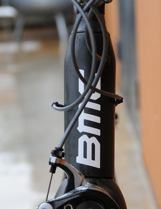 The head tube is actually wider at the top where it joins the top tube then tapers for the upper headset bearing