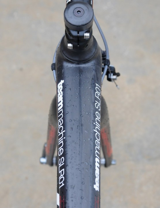 The top tube flares out towards the head tube for extra stiffness