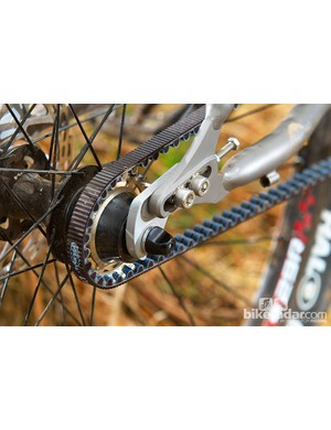 Threaded coupling on the seatstay allows belt fitting