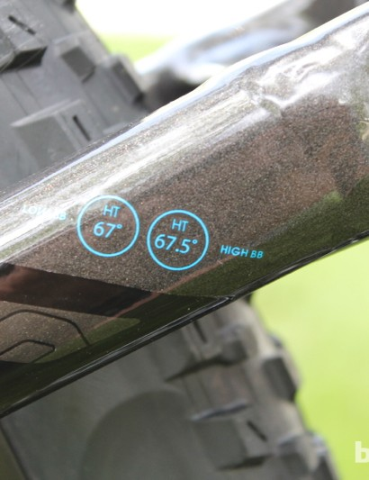 There are two geometry settings for the Remedy 29. The 'high' setting raises the bottom bracket height by 9mm and steepens the head tube angle