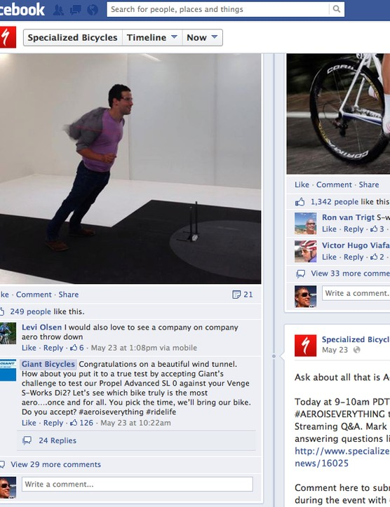 Giant threw down the gauntlet on Specialized's Facebook page