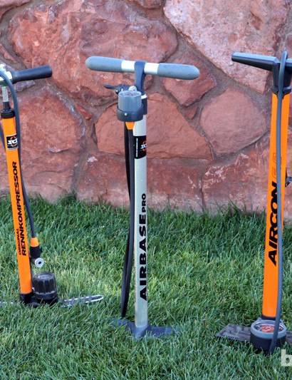 The SKS range of floor pumps is impressively vast. Top models include the Rennkompressor (left), Airbase Pro (middle), and Aircon 6.0 (right). All three feature sturdy metal barrels and confidence-inspiring heft while the Aircon 6.0 adds on a high-volume output for seating stubborn tubeless tires
