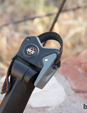 The SKS S-Blade's quick-release seatpost mount is easy to use and features a rubberized strap for a firm grip