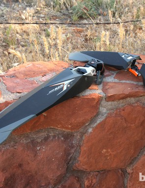 The SKS Grand M.O.M. (left) and Grand D.A.D. (right) clip-on fenders are generously proportioned for use with fat bikes
