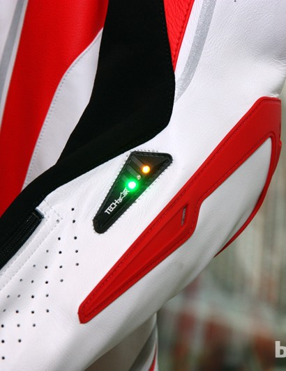 A variety of sensors inside the Alpinestars Tech Air Race suit distinguishes between typical high-G loads and an actual impact or crash, triggering the on-board airbags as needed