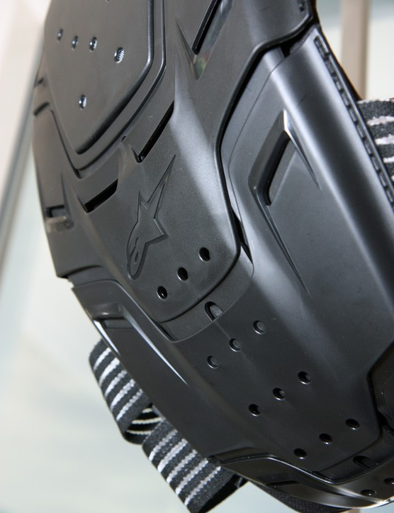 The Alpinestars MTB Bionic Back Protector features an articulating back panel with removable sections for pairing with the company's neck brace