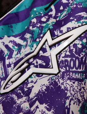 The Alpinestars Gravity Shorts feature bold patterns plus heavy-duty rubber logos