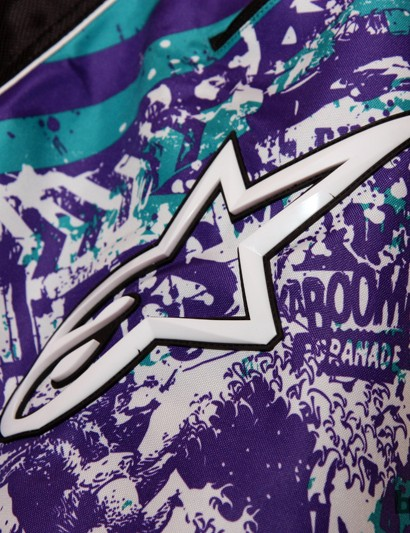The Alpinestars Gravity Shorts feature bold patterns plus heavy-duty rubber logos
