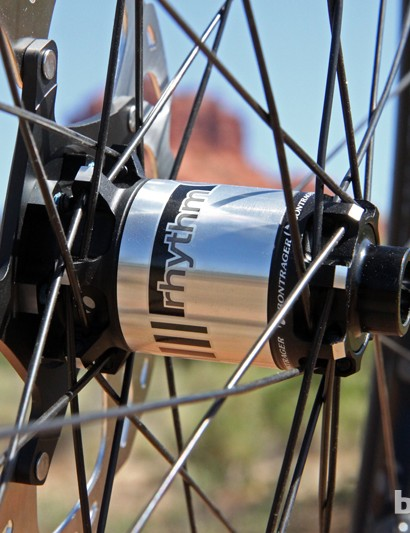 The aluminum hub shells on the new Bontrager Rhythm Elite wheels are truly massive. End caps are easily swapped to accommodate different axle fitments, too